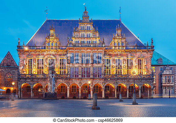 City Hall on Market Square in Bremen, Germany - csp46625869