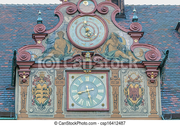 City Hall on Market Square in Tubingen, Germany - csp16412487
