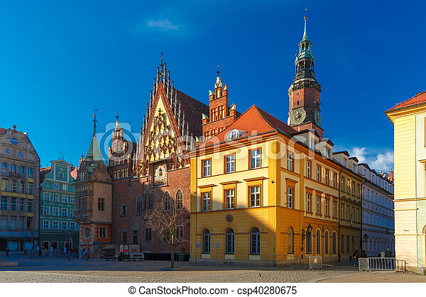 City hall on Market Square in Wroclaw, Poland - csp40280675