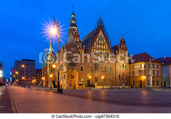 City hall on Market Square in Wroclaw, Poland - csp67564316