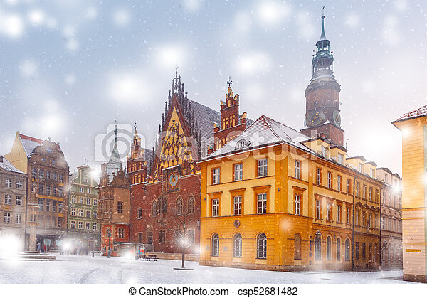 City hall on Market Square in Wroclaw, Poland - csp52681482