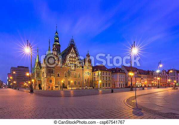 City hall on Market Square in Wroclaw, Poland - csp67541767