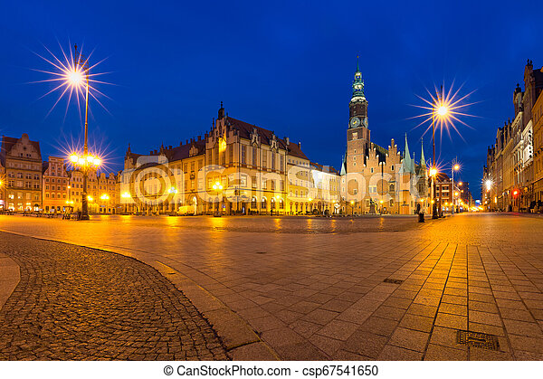 City hall on Market Square in Wroclaw, Poland - csp67541650