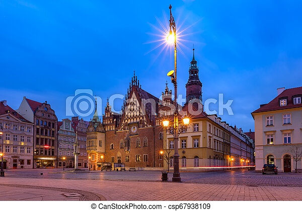 City hall on Market Square in Wroclaw, Poland - csp67938109