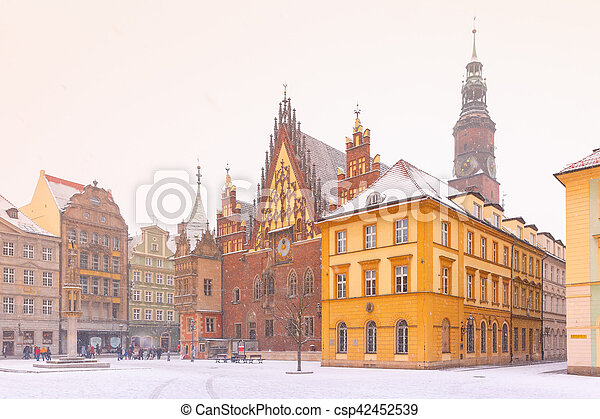City hall on Market Square in Wroclaw, Poland - csp42452539
