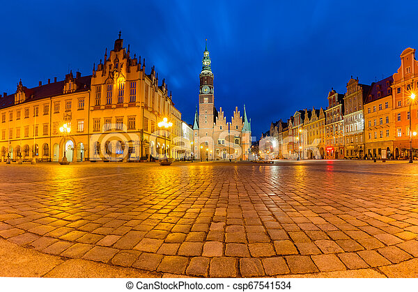 City hall on Market Square in Wroclaw, Poland - csp67541534