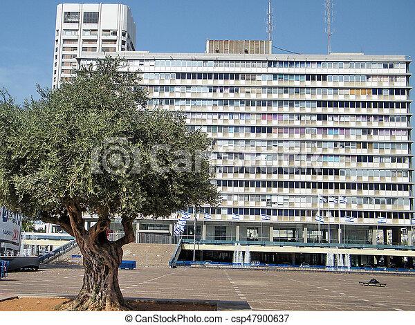 City Hall on Rabin Square in Tel Aviv - csp47900637
