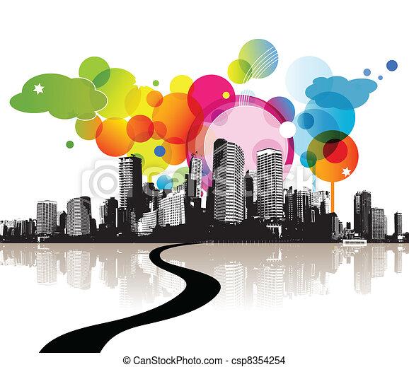 city., ilustracja, abstrakcyjny - csp8354254