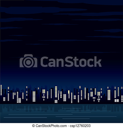Vista nocturna de la ciudad moderna. Imágenes de vector - csp12760203
