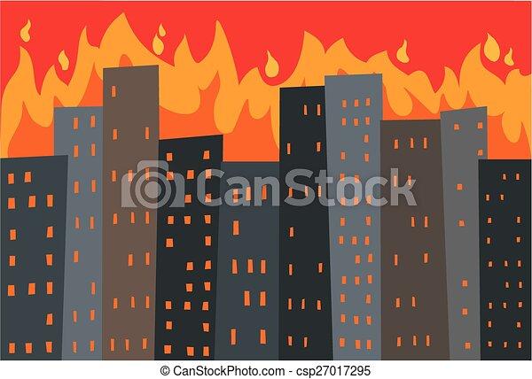 city in flames - csp27017295