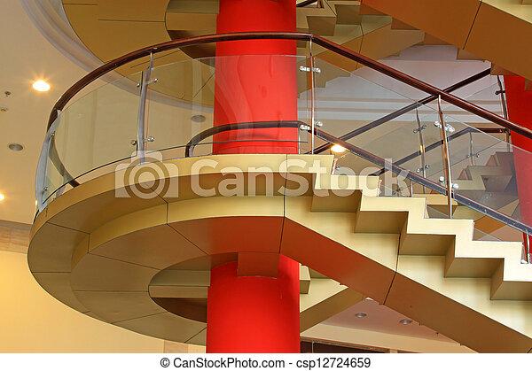 city indoor glass rotary stairs - csp12724659
