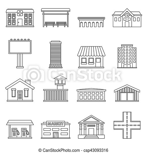 City infrastructure items icons set, outline style - csp43093316