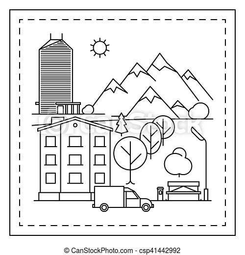 City landscape coloring page for kids. Coloring page for kids with ...