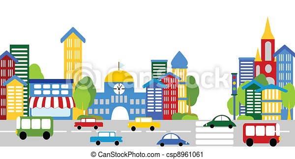 City life, streets, buildings, cars - csp8961061