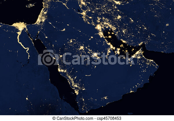 City lights on world map arabian peninsula city lights on world map arabian peninsula csp45708453 gumiabroncs Images