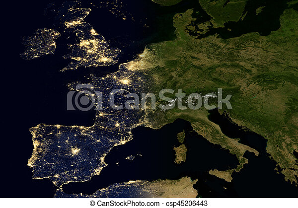 City lights on world map europe elements of this image are city lights on world map europe csp45206443 gumiabroncs Choice Image