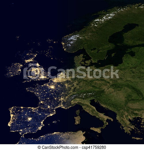 City lights on world map europe elements of this image are city lights on world map europe csp41759280 gumiabroncs Images