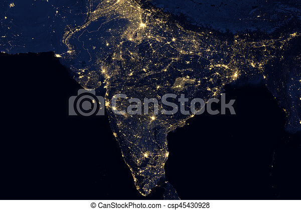 City lights on world map india elements of this image are city lights on world map india csp45430928 gumiabroncs Images
