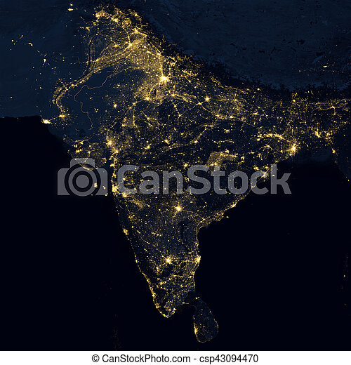 City lights on world map india elements of this image are city lights on world map india csp43094470 gumiabroncs Images