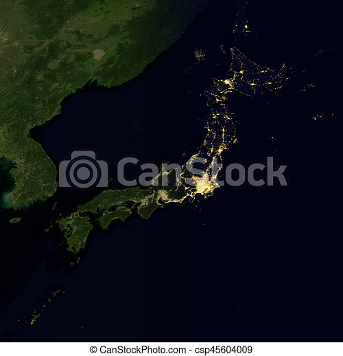City lights on world map japan city lights on world map japan csp45604009 gumiabroncs Images