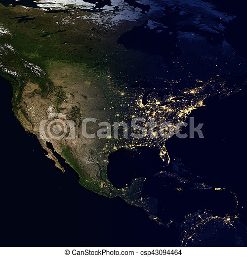 City lights on world map. North America. - csp43094464