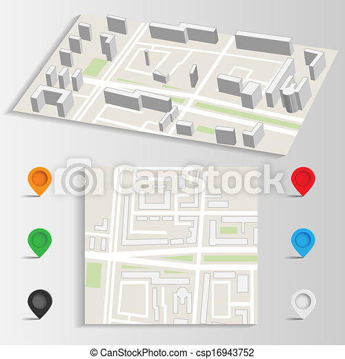 city map and landmarks vector - csp16943752