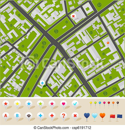 City Map With GPS Icons - csp6191712