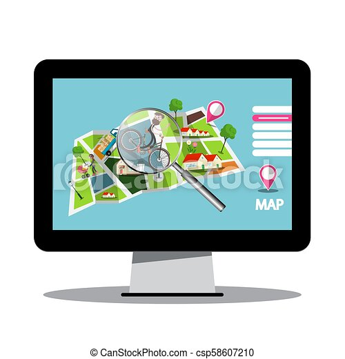 City Map with Magnifying Glass on Computer Screen - Vector - csp58607210