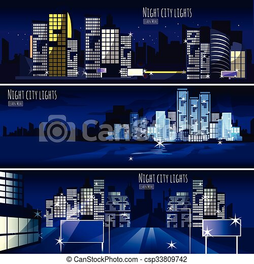 City Nightcape 3 Banners Set - csp33809742