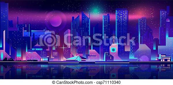 City nightlife cartoon vector urban background - csp71110340