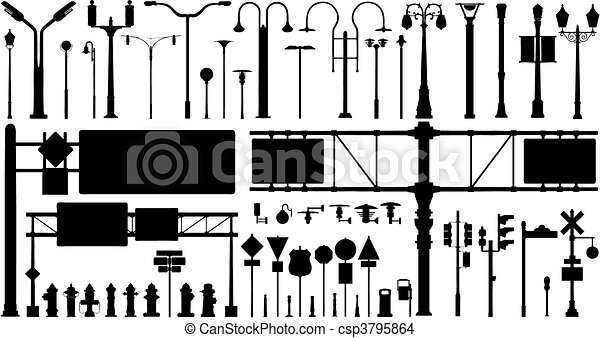 city objects vector set - csp3795864