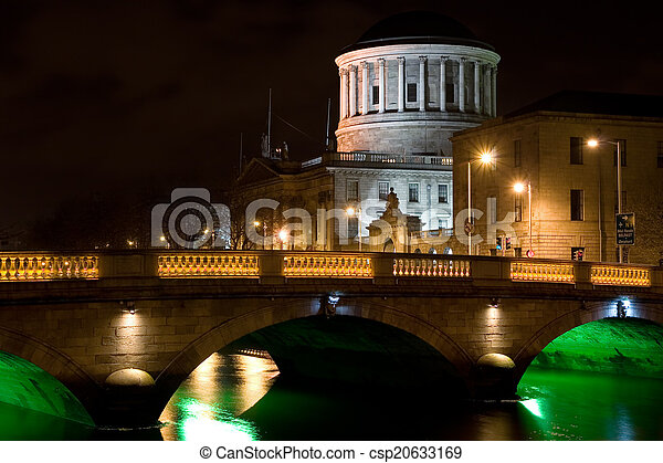 City of Dublin at Night in Ireland - csp20633169