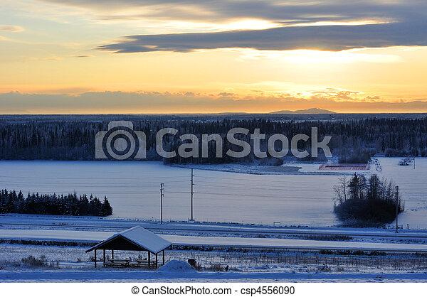 City of Fairbanks, Alaska at sunset in winter - csp4556090