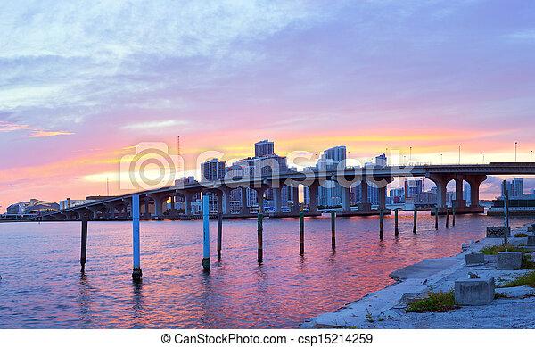 CIty of Miami Florida, summer sunset panorama   - csp15214259