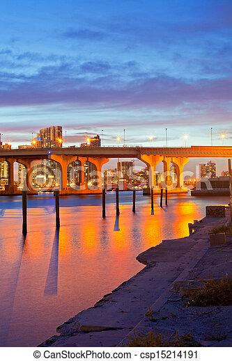 CIty of Miami Florida, summer sunset panorama   - csp15214191