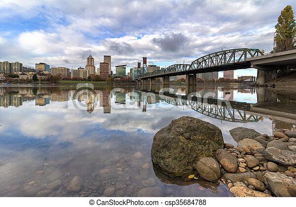 City of Portland Oregon Reflection - csp35684788