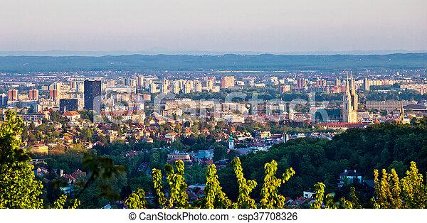 City of Zagreb panoramic view - csp37708326