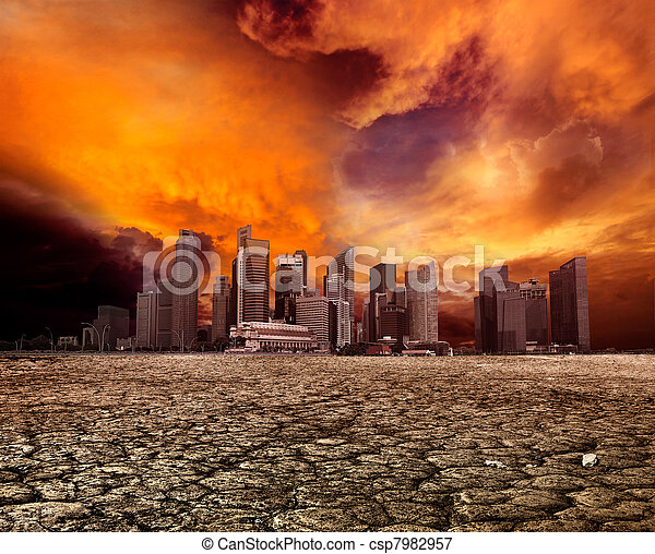 City overlooking desolate landscape - csp7982957