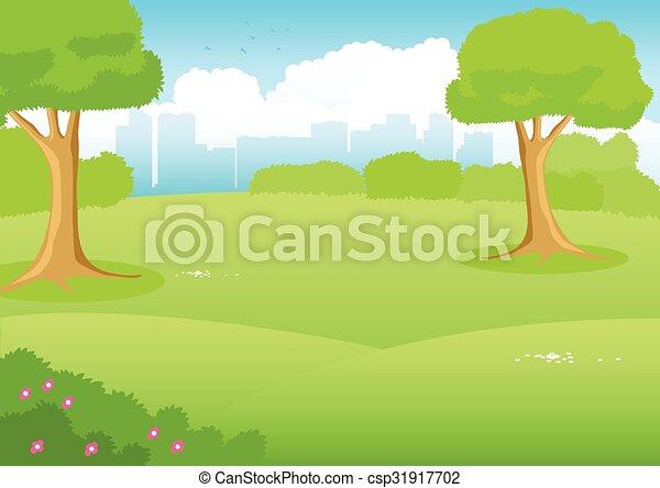 City park cartoon. Cartoon illustration of a park with ...