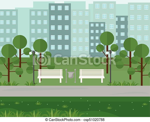 City Park view in summer seasons. Vector background - csp51020788