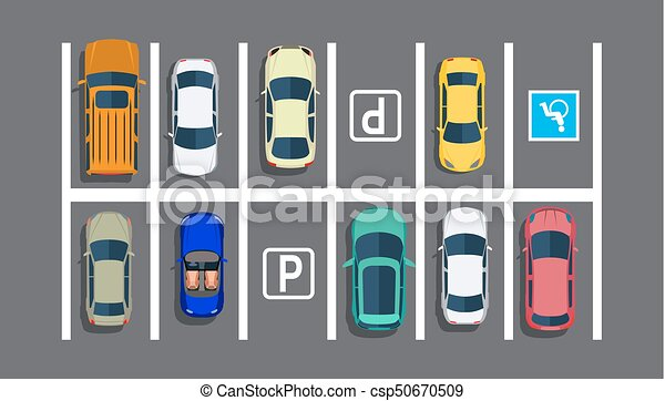 city parking lot with different cars shortage parking vector rh canstockphoto com parking lot clipart black and white parking lot clipart black and white