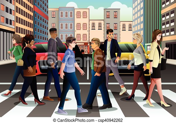 a vector illustration of city people crossing the street