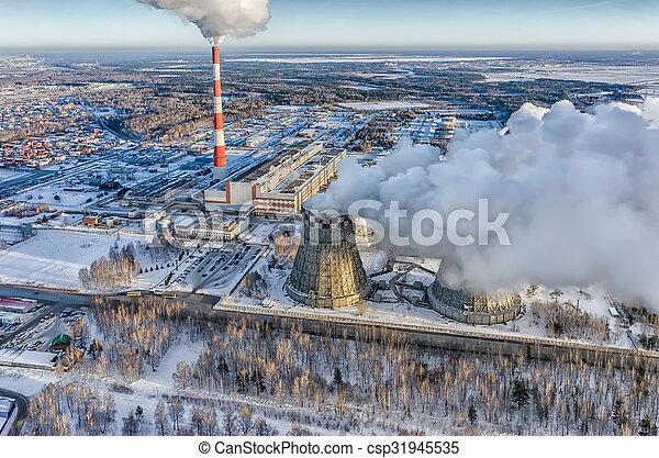 City Power Plant In A Winter Season Tyumen Russia