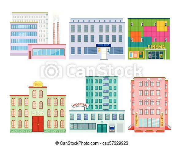 City Public Buildings Houses Flat Design Office Architecture Modern
