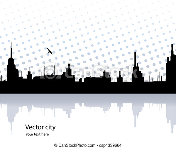 City reflected in the water with bird. Vector - csp4339664