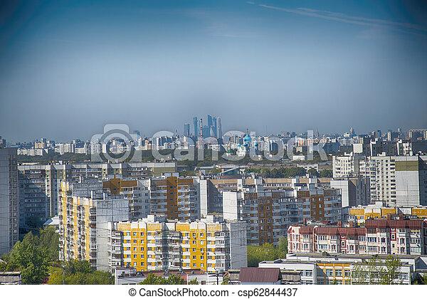 Ciudad de Moscú. Cortejo de complejo residencial, vista superior - csp62844437