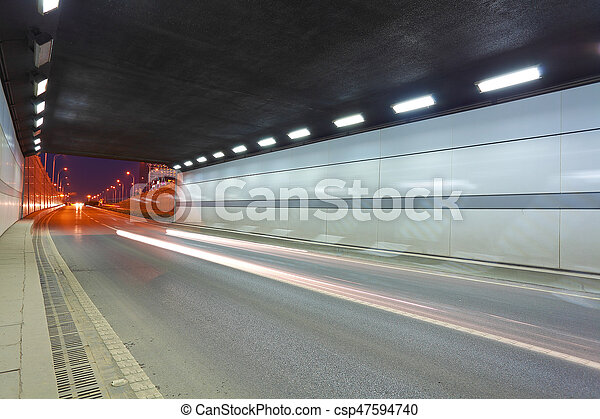 City road tunnel of night scene - csp47594740
