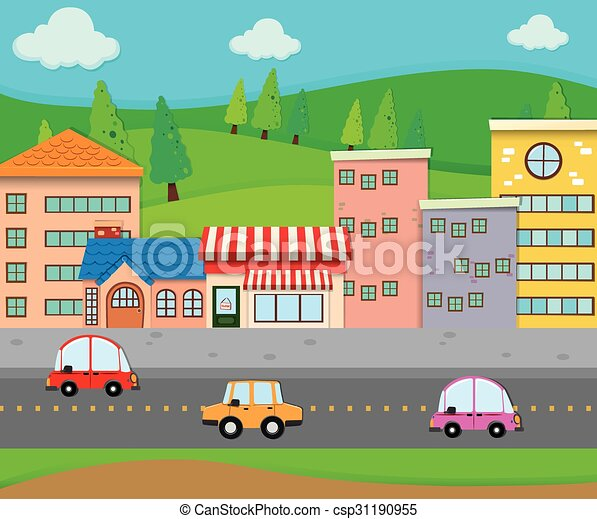 City scene with cars on the road illustration.