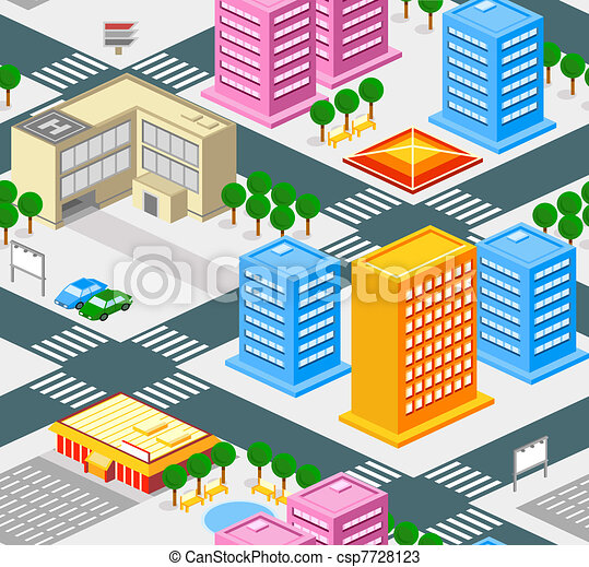 City seamless pattern - csp7728123