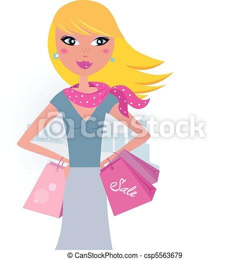 city:, shopping, biondo, acquirente - csp5563679